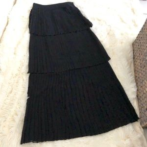 Tiered Plaid Black Maxi Skirt